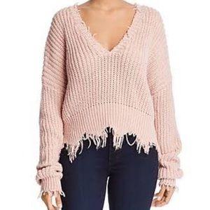 Vestique distressed Vneck sweater bright pink